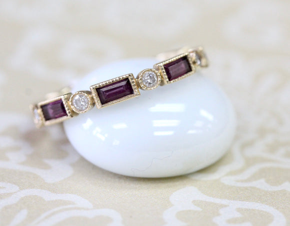Sweet ~ Rhodolite Garnet & Diamond Band
