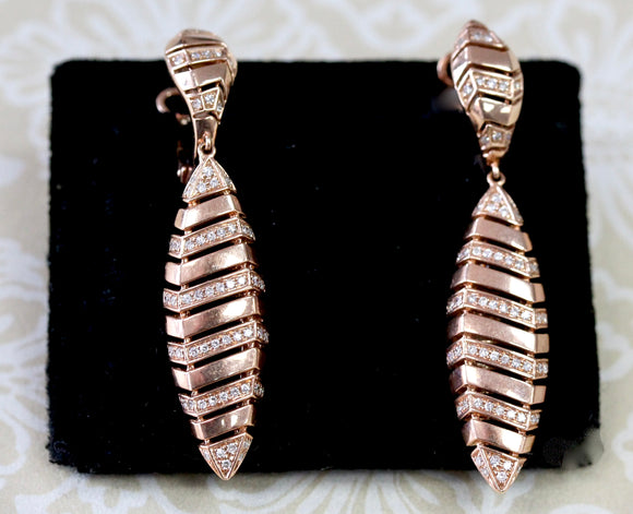 Delightful ~ Diamond Drop Earrings in Rose Gold