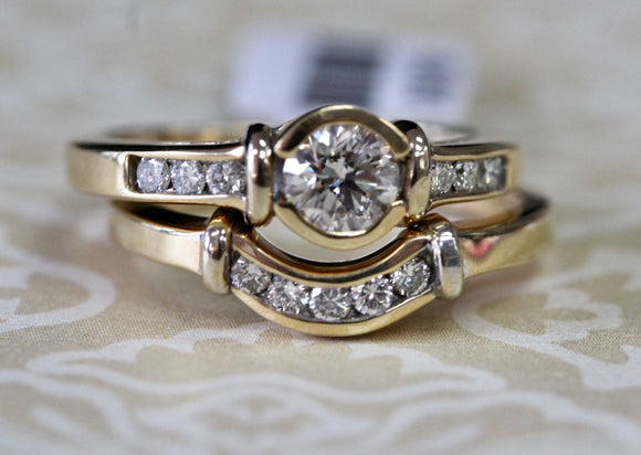 Gleaming ~ Diamond Engagement Ring & Band Set