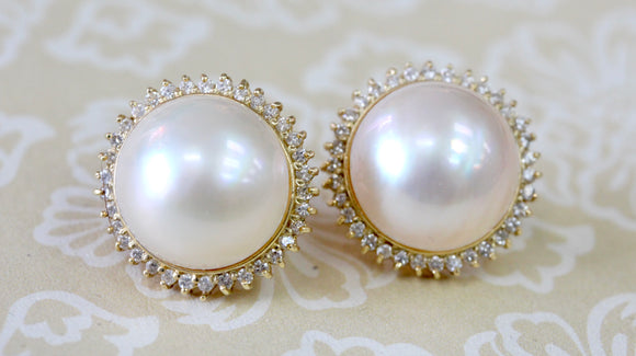 Delightful ~ Mabe Pearl & Diamond Earrings