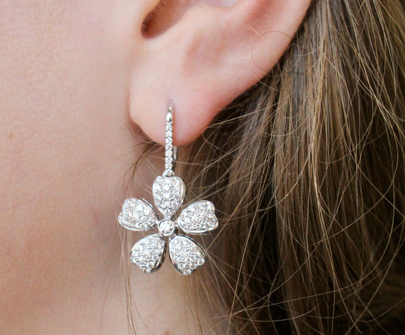 Diamond Flower Earrings ~ Beautiful