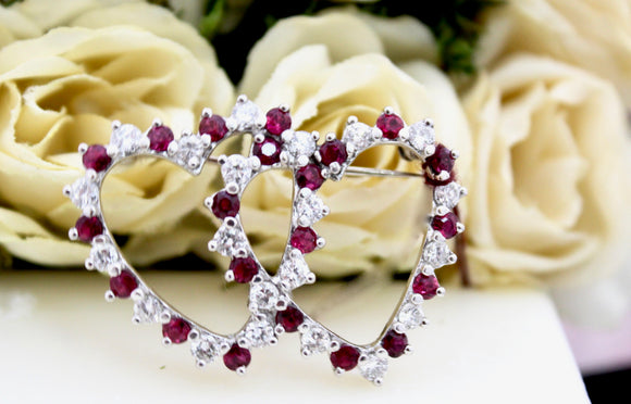 Two Heart Pin with Alternating Diamonds and Rubies