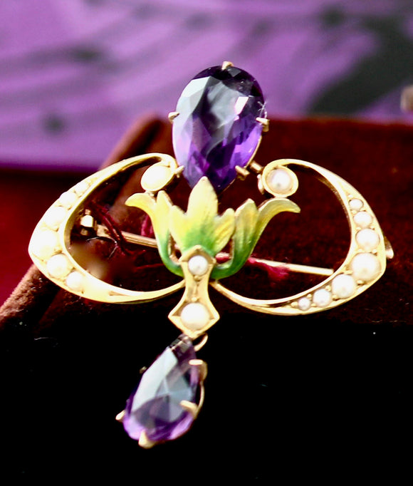 Antique ~ Amethyst, Pearl & Enamel Pin