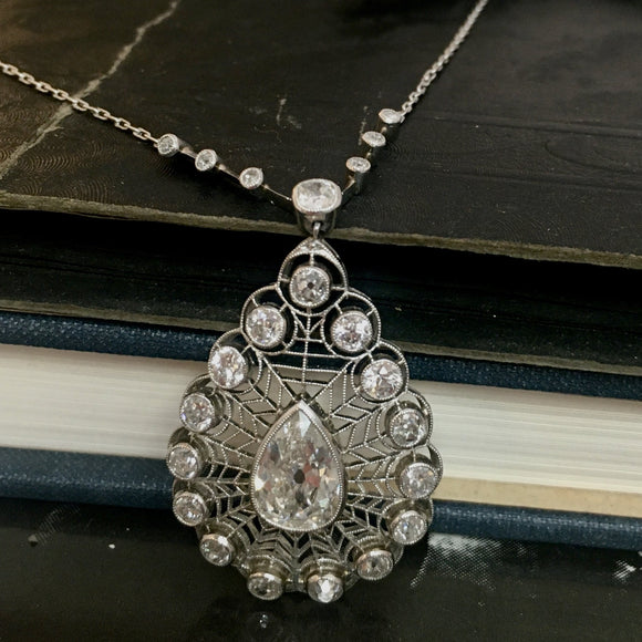 Diamond and Filigree Pear Shaped Pendant Neckpiece