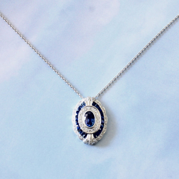 Sapphire and Diamond Pendant and Chain