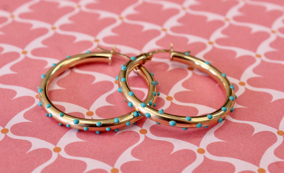 Gold Hoops with Turquoise Accents