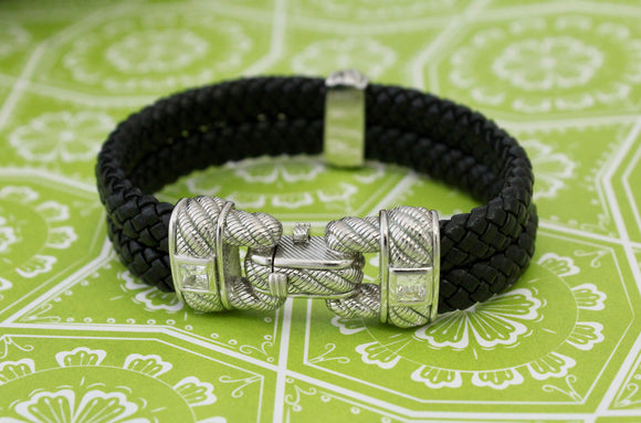 Chic ~ Woven Black Leather bracelet