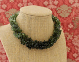 Variegated Green Tourmaline Necklace with Carved Tourmaline Clasp