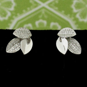 Lovely 3 Leaf Diamond Earrings