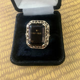 Emerald Cut Smoky Quartz Ring