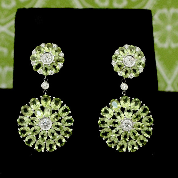 Colorful Peridot & Diamond Drop earrings