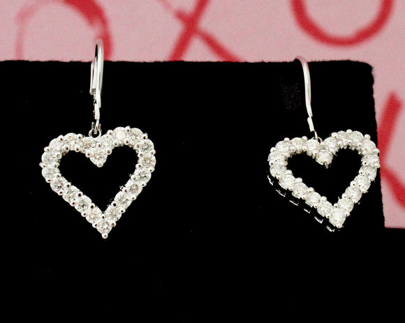 Romantic ~ Heart Shaped Diamond Earrings