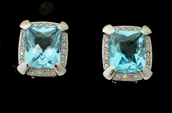 Dazzling ~ Blue Topaz & Diamond Earrings