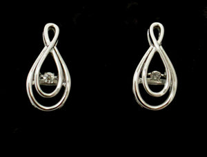 Stylish Earrings with Diamond Center