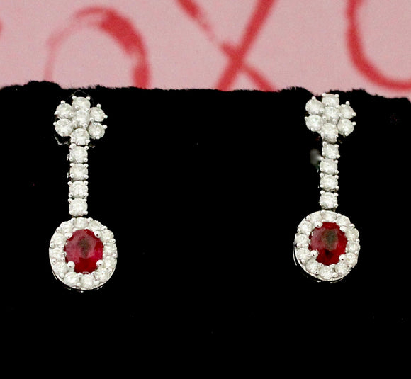 Ruby & Diamond Drop Style Earrings
