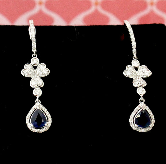 Enchanting ~ Diamond & Sapphire Drop Earrings