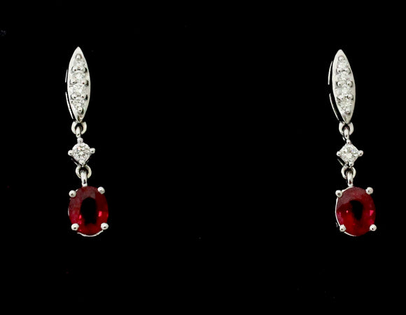 Sweet ~ Diamond & Ruby Drop Earrings