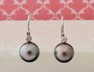 Graceful ~ Grey Pearl Earrings with Bezel set Diamonds