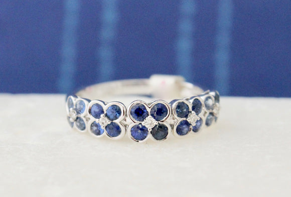 Shimmering ~ Sapphire ring adorned with diamonds