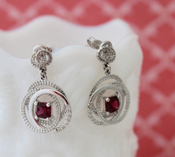 Fun & Flirty ~Rhodalite Garnet Drop Earrings