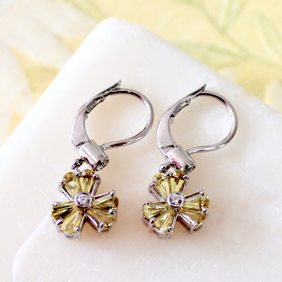 Twinkling ~ Yellow Sapphire & Diamond Earrings