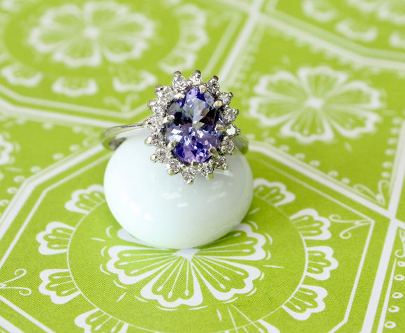 Fun & Fancy ~ Tanzanite and Diamond Ring