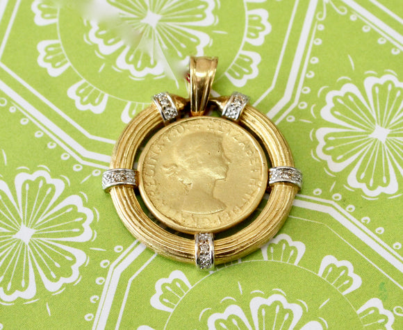 Vintage ~ Coin Pendent with diamond accents