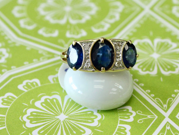 Estate ~ Eye Catching Oval Sapphire & Diamond Ring