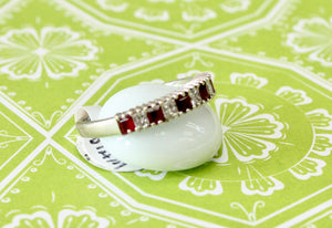 Contemporary ~ Princess Cut Diamond & Ruby Band
