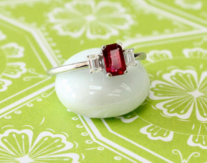 Sweet & Lovely ~ Contemporary Ruby & Diamond Ring