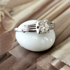 Vintage ~ Engagement Ring with Transitional Cut Diamond