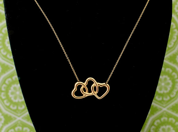 Tiffany & Co 18K Yellow Gold Triple Heart Chain Necklace