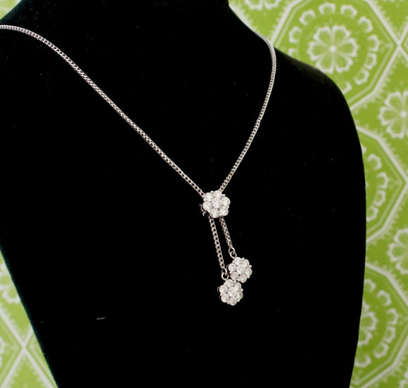 Flower Dangle Drop Diamond Necklace
