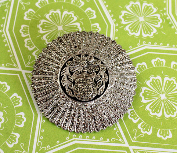 Vintage ~ Sterling & Marcasite Pin