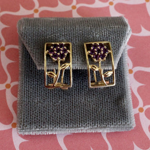 Charming ~ Amethyst Flower Motif Earrings
