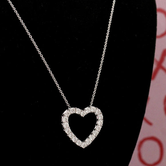 Stunning & Romantic ~ Heart Shaped Diamond Pendant Necklace