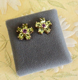 Whimsical & Charming ~ Peridot and Amethyst earrings