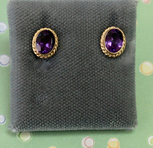 Charming ~ Amethyst stud style earrings