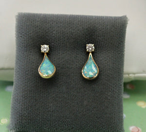 Adorable ~ Opal & Diamond Earrings