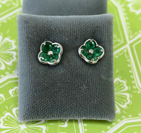 Lovable ~ Emerald Earrings, floral motif