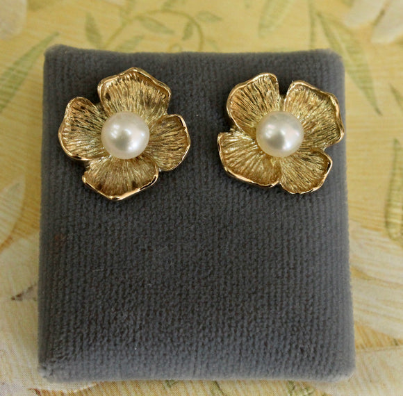 Lovely ~ Floral Motif with Pearl Center Earrings