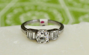 .90 Round Center Diamond Engagement Ring