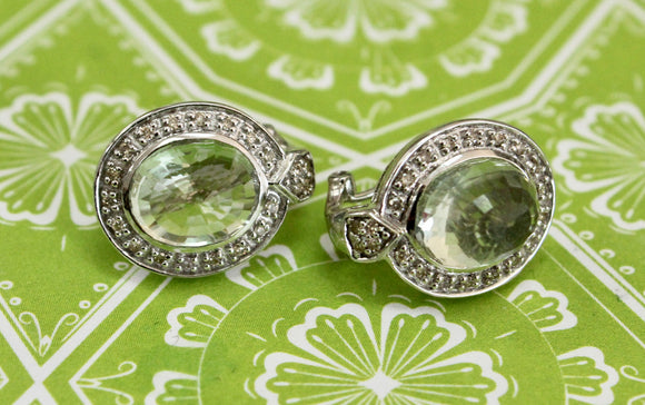 Glamorous  ~ Oval Shaped Green Amethyst Earrings