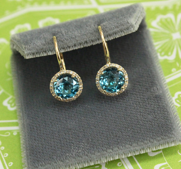 Dainty & Sweet ~ Pair of Blue Topaz & Diamond Earrings
