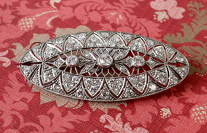 Magnificent ~ Platinum & Diamond Filigree Marquee Shaped Pin