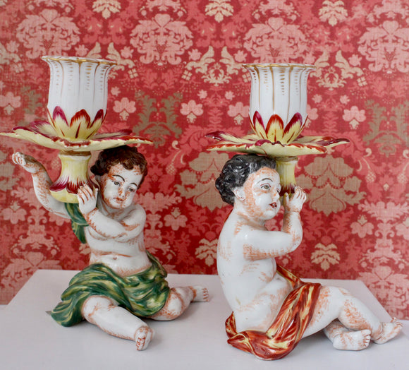 Collectible & Gorgeous ~ Pair of Capodimonte Figural Candlestick Holders