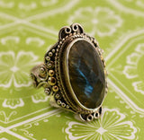 Fun & Sassy ~ Sterling Labradorite Statement Ring