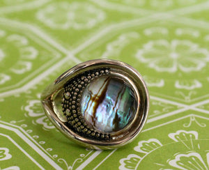 CHIC & EDGY ~ Sterling Abalone Ring