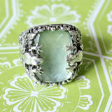 Funky ~ Sterling Silver & Labradorite Ring with frog designs ~ Fun