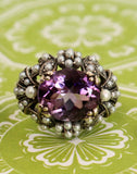 Fashionable & Fun ~ Sterling, Amethyst, & Pearl Ring